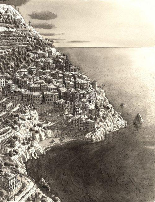 Gambar Ilustrasi Desa di Cinque Terre