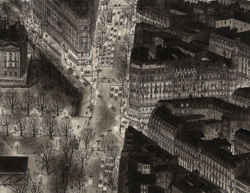 Gambar Ilustrasi Parisian Boulevard di Malam Hari