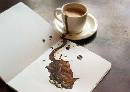 Ilustrasi Kucing dari Kopi